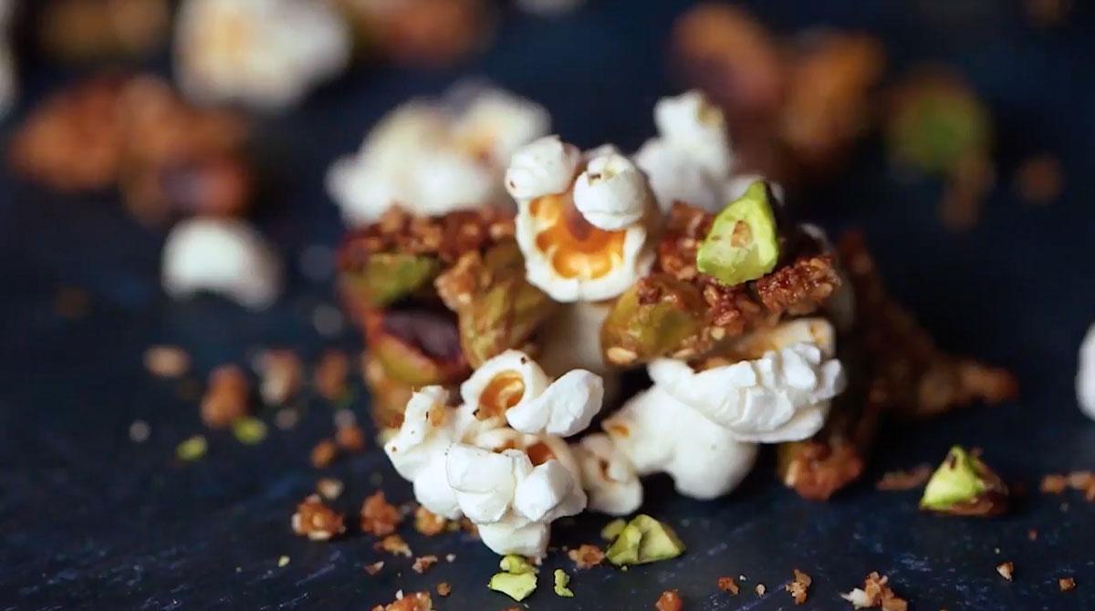 Receta palomitas con pistache caramelizado