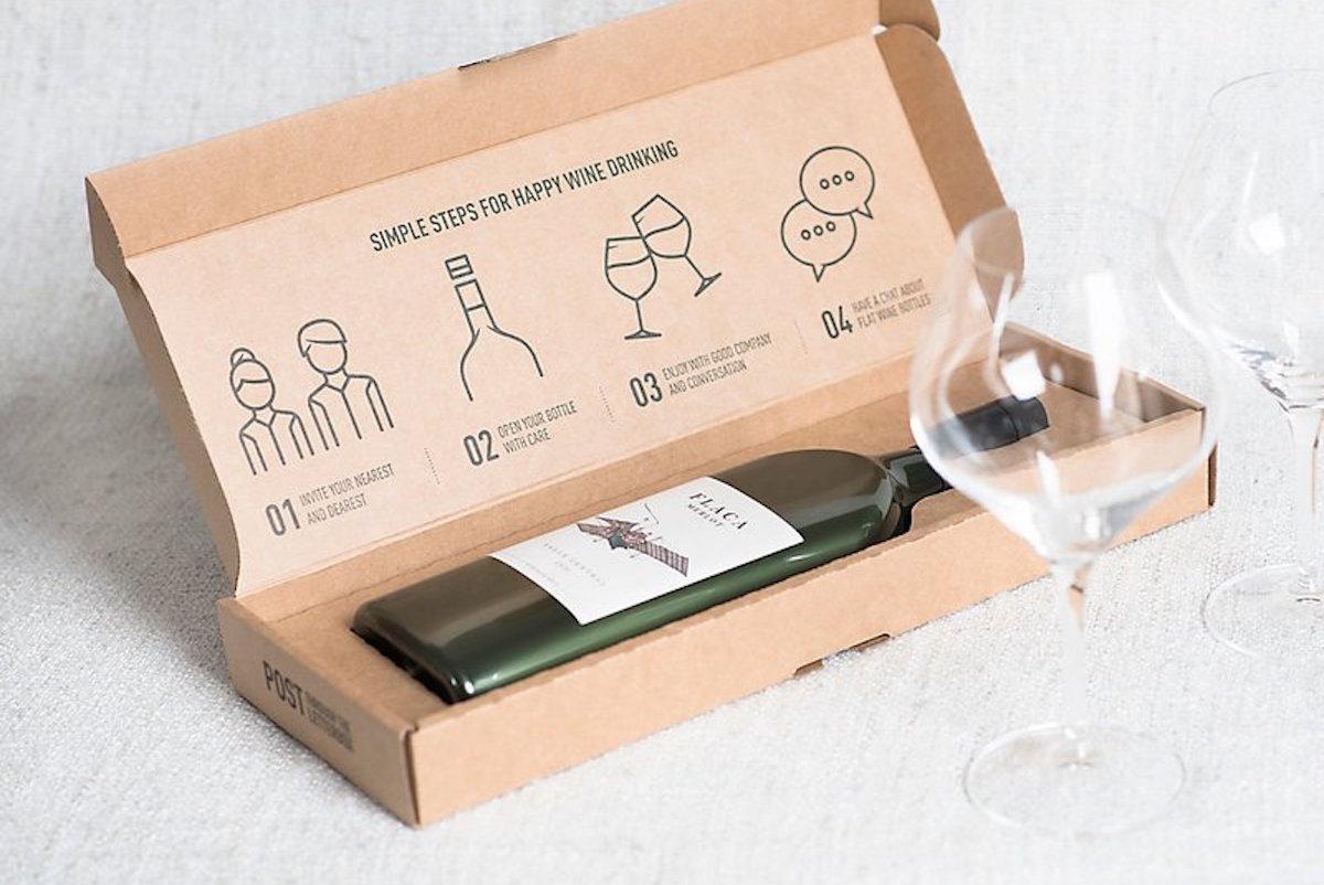 la primera botella de vino plana en el mundo