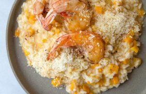 risotto de calabaza mantequilla con camarones