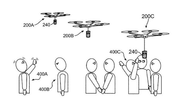 dibujo de la patente que muestra la interacción del dron con el usuario
