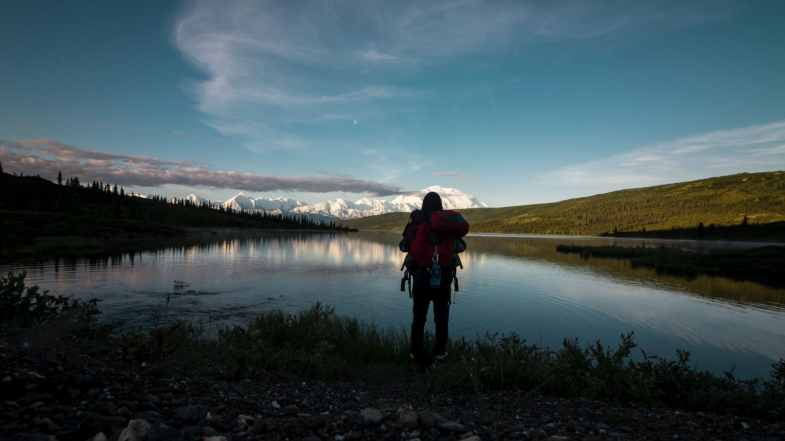 viajero, paisaje, viaje