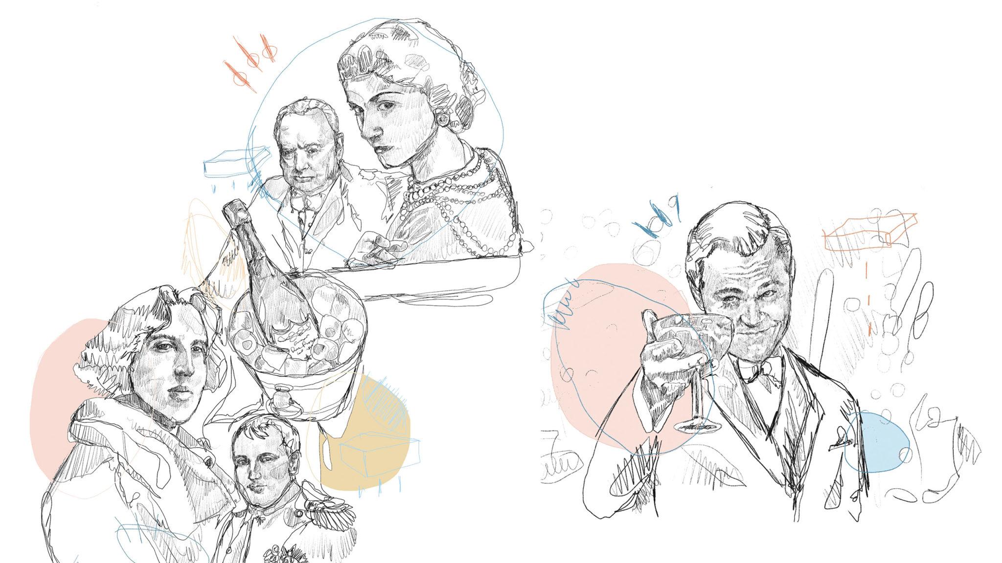 champaña, champán, ilustración