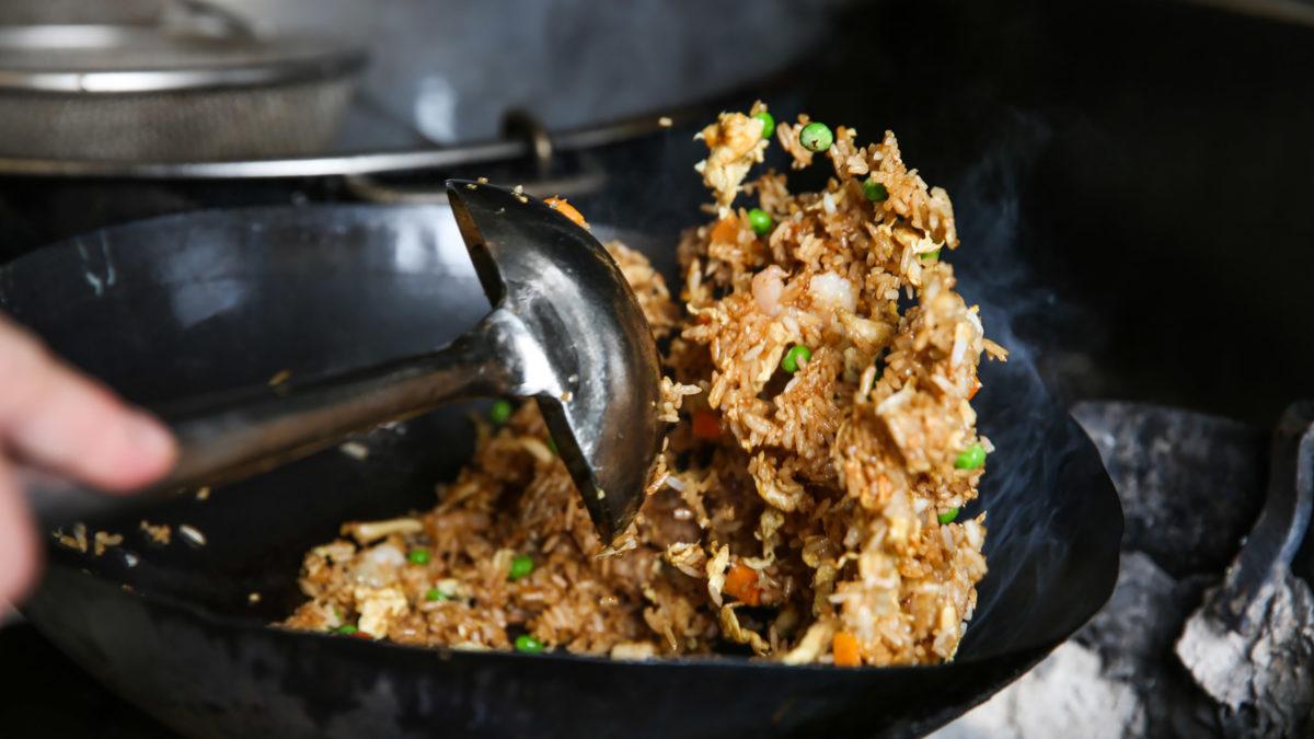 arroz, arroz frito, wok
