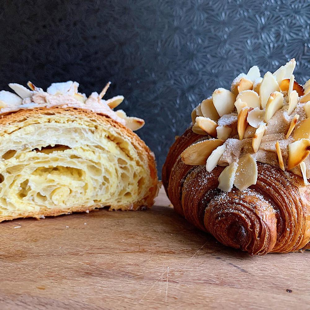 croissant, almendra, pan