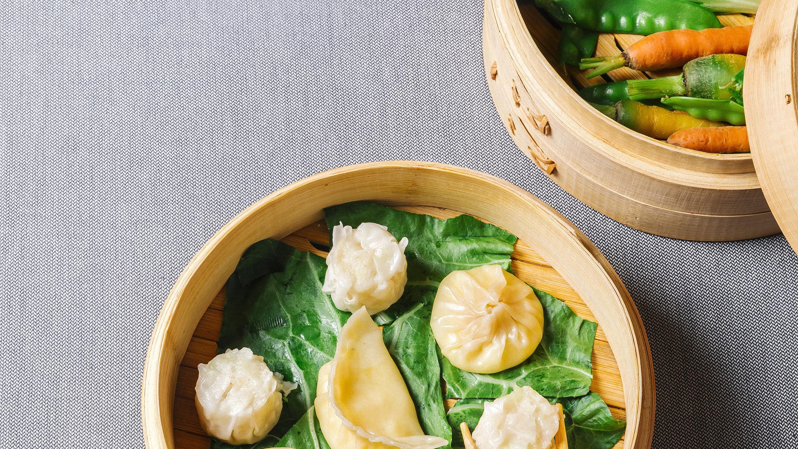 dumplings, vaporera, vaporera de bambú