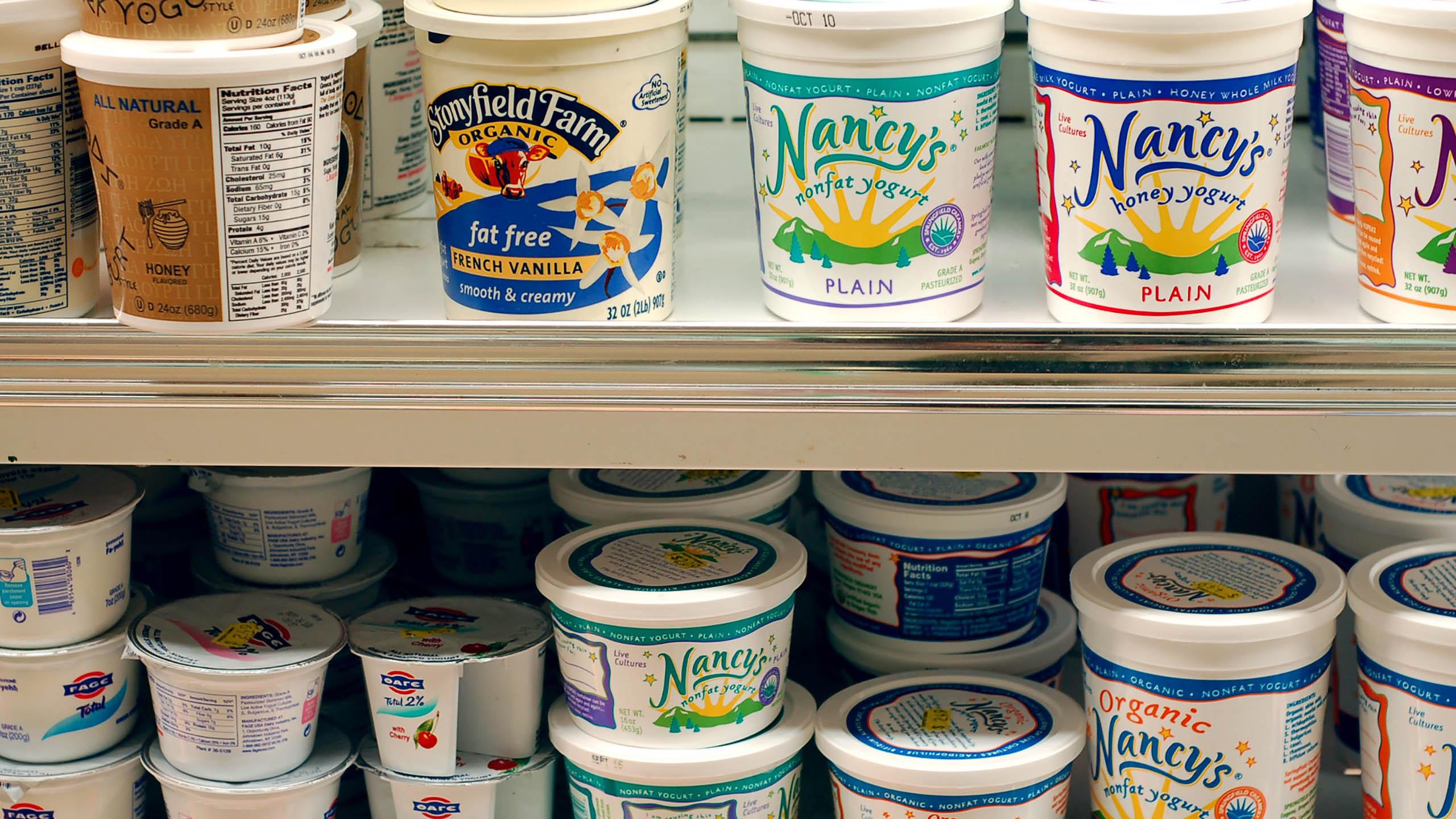 yogurt, lácteos, contenedor, envase de yogurt