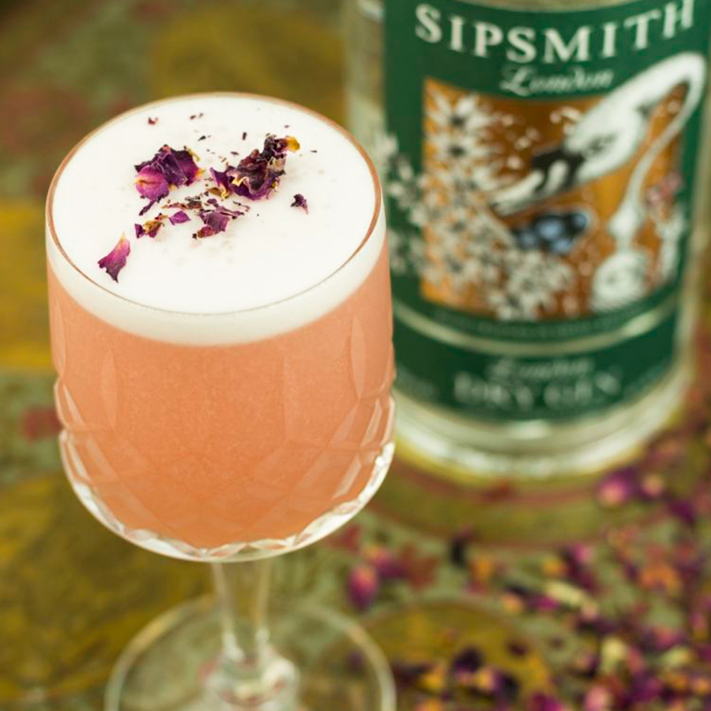 rosewater fizz coctel rosa gin sipsmith london dry gin