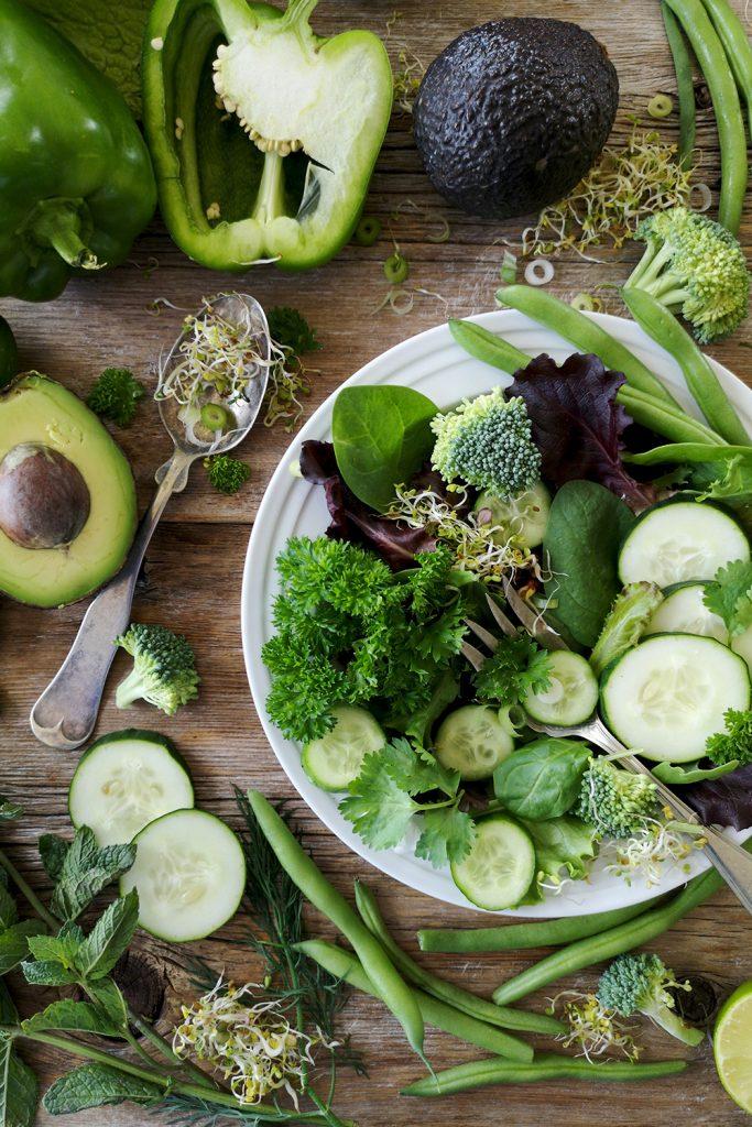 Verduras y vegetales verdes