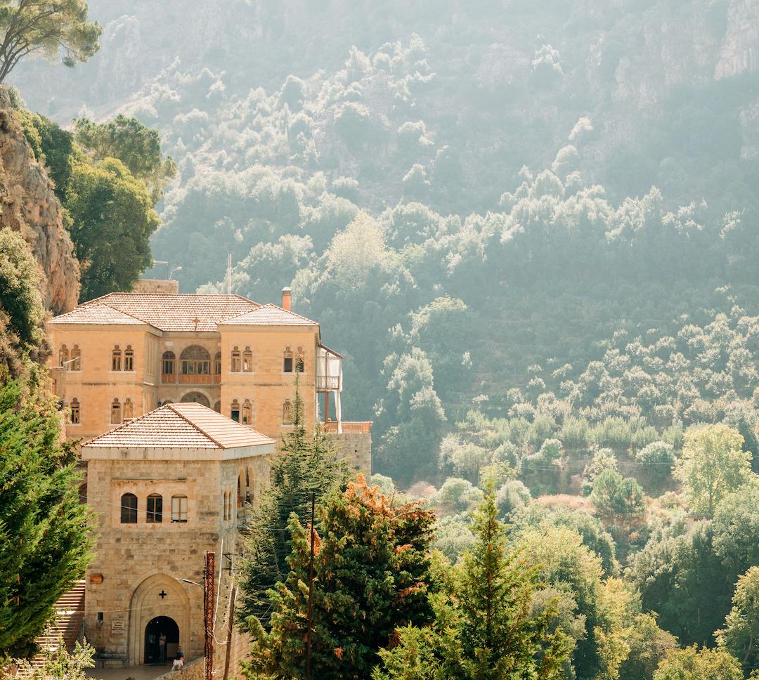 El monasterio de San Antonio de Qozhaya en el Líbano.  Comida de monasterio.