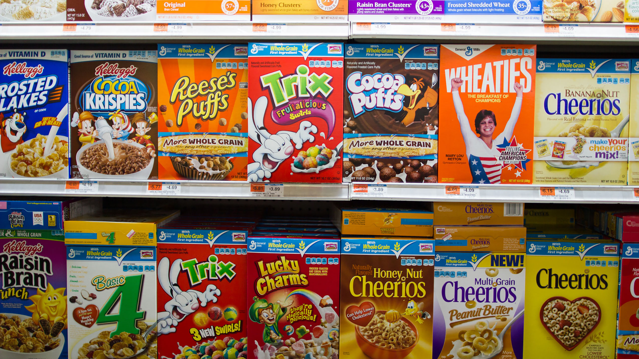 caja de cereal, personajes infantiles, cereal