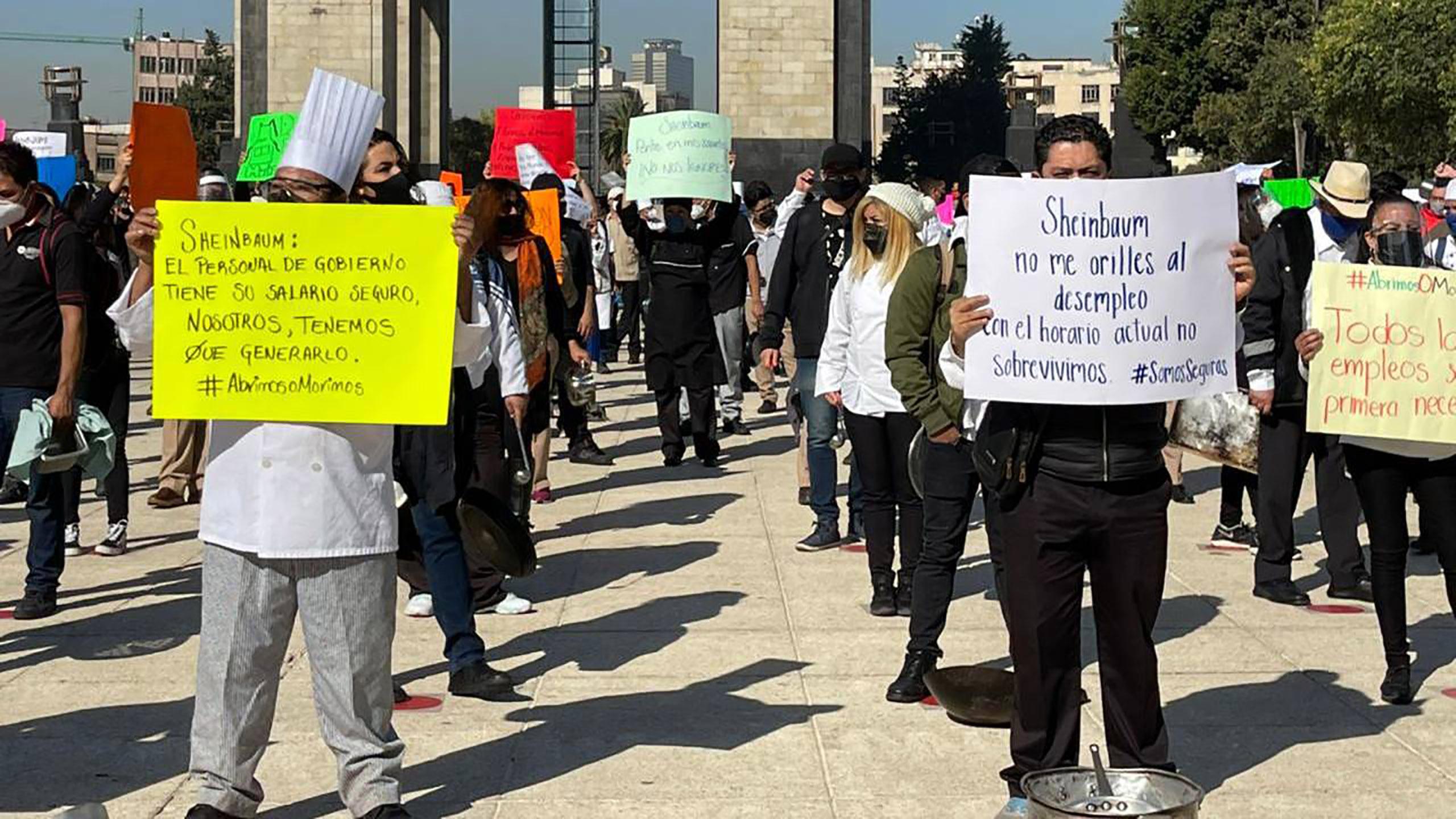 reapertura, manifestación, restaurantes