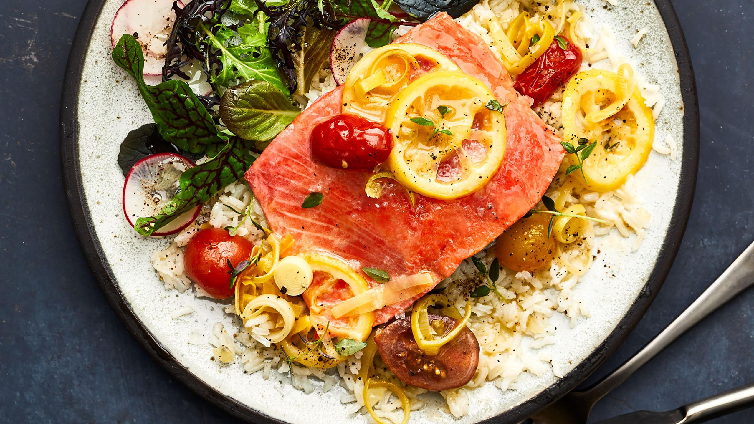 salmón, salmón pochado, receta con salmón