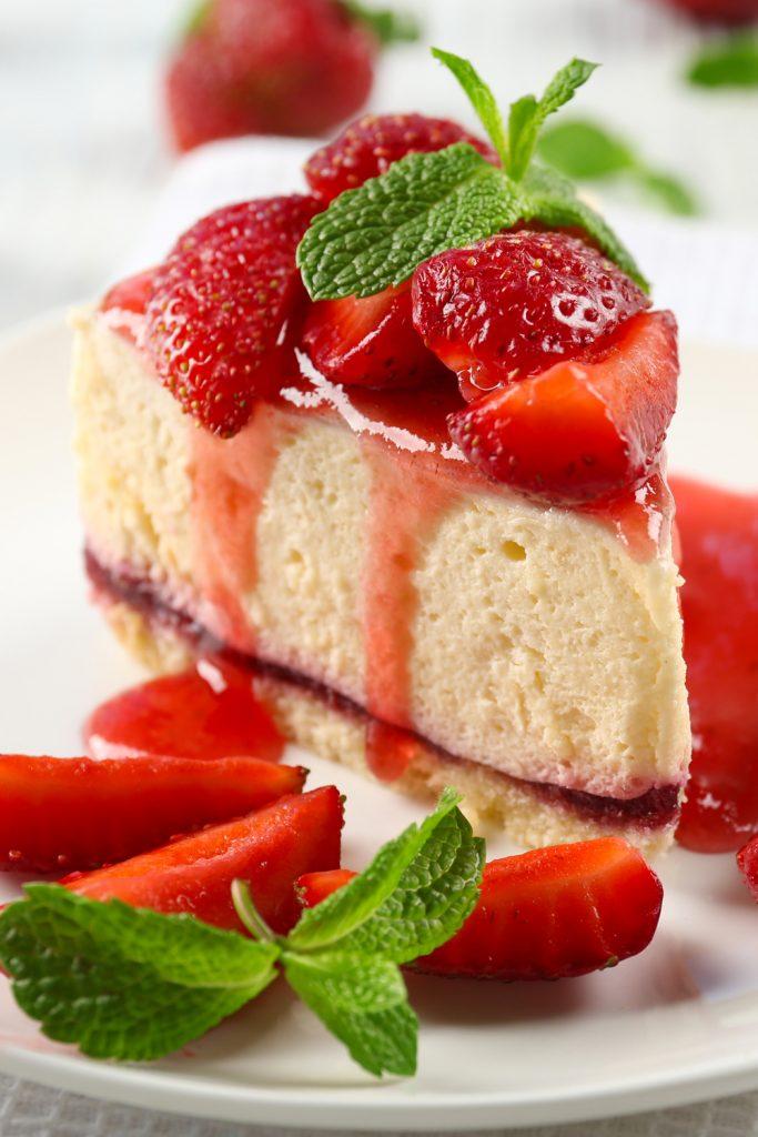 Cheesecake con mermelada de cereza